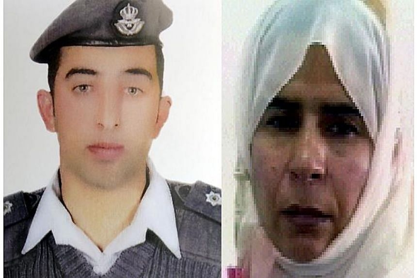 A combo picture made on Jan 28, 2015, shows Jordanian pilot Maaz al-Kassasbeh (left), who was captured by ISIS militants on Dec 24 in Syria, and Sajida al-Rishawi (right), a would-be suicide bomber on death row since 2006. -- PHOTO: AFP