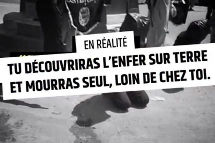 """A screengrab of the video on the website showing a message which reads: """"You will discover hell on earth and die alone, far away from home"""". The website is a move by the French government to usesocial media to discourage would-be extremists. --"""