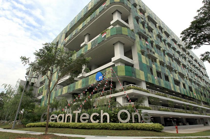 The CleanTech One building located within CleanTech Park, a 50-ha eco-business and technology park developed by JTC. -- PHOTO: ZAOBAO