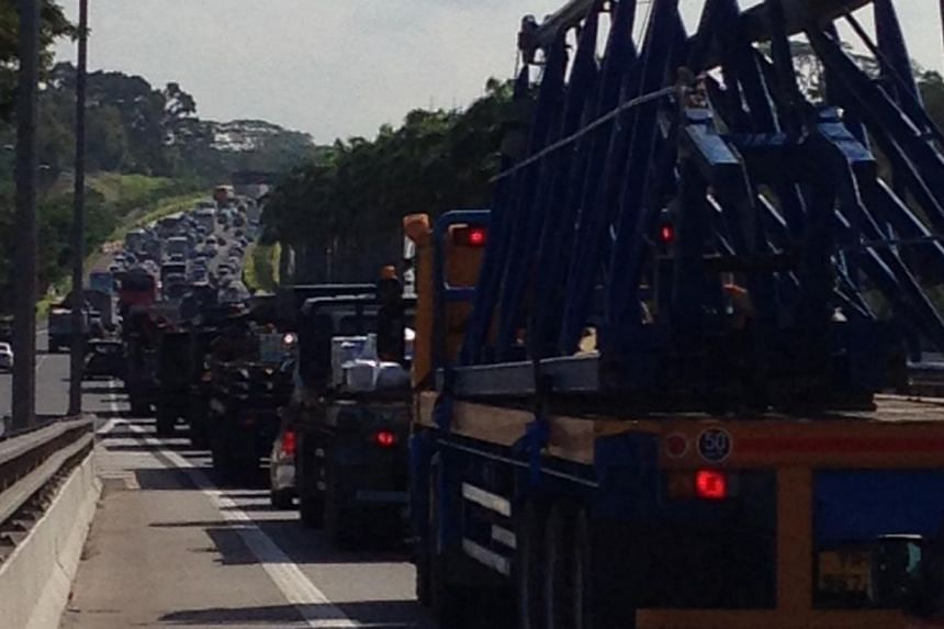 Traffic was at a standstill earlier this morning on the SLE heading towards the CTE near the Lentor exit. -- ST PHOTO: ALPHONSUS CHERN