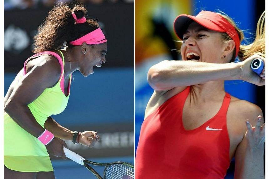 Top seed Serena Williams (left) will meet archrival Maria Sharapova in the Australian Open final after the duo beat Madison Keys and Ekaterina Makarova respectively. -- PHOTOS: EPA