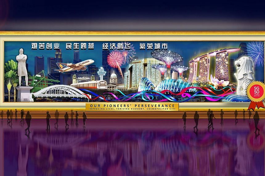 An artist's impression of a 50m-long mural illustrating the Singapore skyline, one of the highlights of next month's River Hongbao. -- PHOTO: RIVER HONGBAO 2015