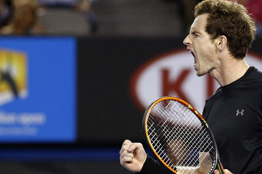 Andy Murray of Britain reacts during play against Tomas Berdych of the Czech Republic in their semi-final match at the Australian Open Grand Slam tennis tournament in Melbourne, Australia, Jan 29, 2015. -- PHOTO: EPA