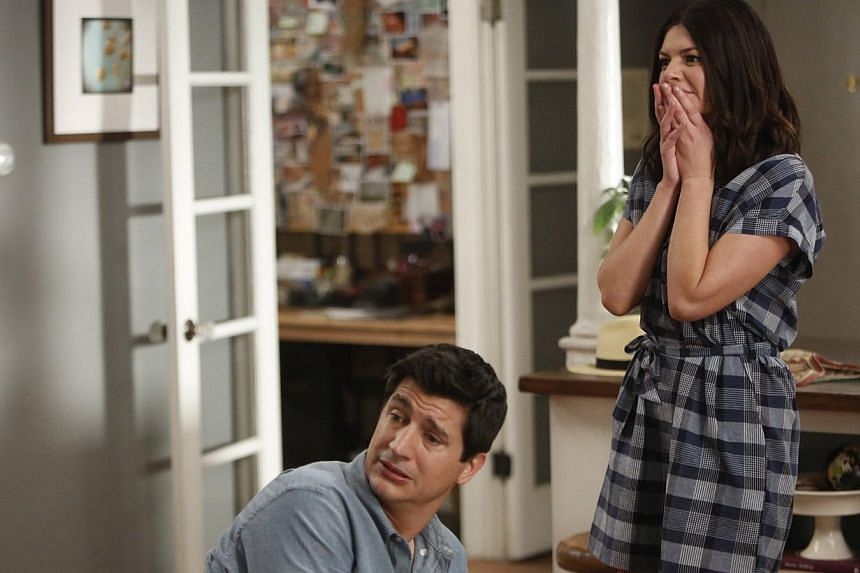 Casey Wilson and Ken Marino (both above) play a couple adjusting to each other's quirks in Marry Me, and Amanda Peet reels from one relationship to another in Togetherness.