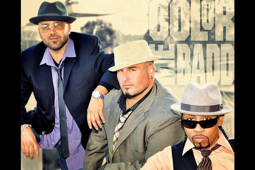 Mark Calderon (left) with Bryan Abrams (centre) and Kevin Thornton (right), on not minding that the group is called retro. -- PHOTO: COLOR ME BADD