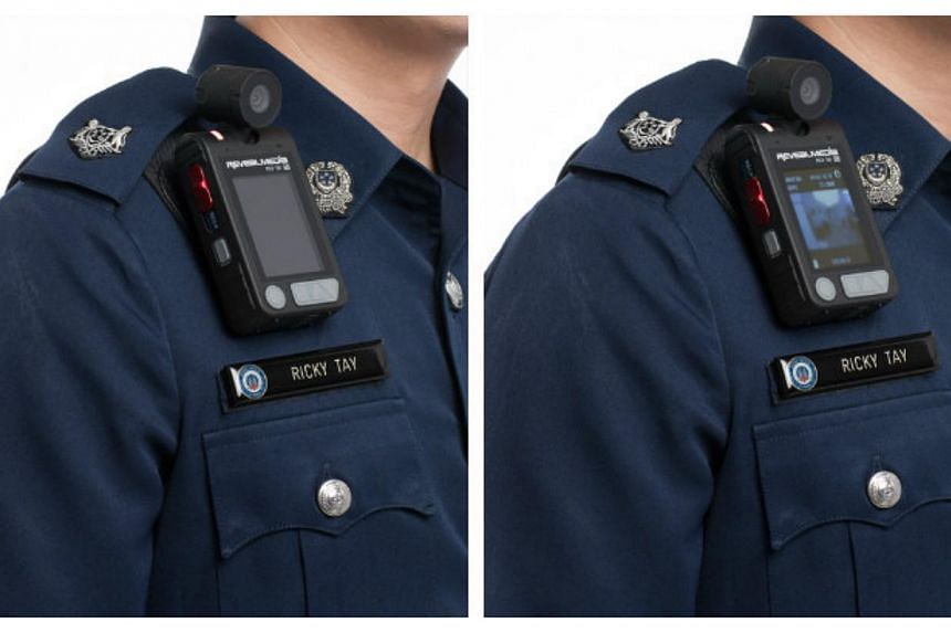 Officers from Bukit Merah West Neighbourhood Police Centre (NPC) will be the first to don body-worn cameras, starting Friday. -- PHOTO: SINGAPORE POLICE FORCE