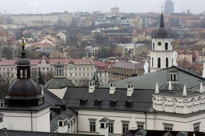 A general view of Lithuanian capital Vilnius on Dec 17, 2014. Lithuania's defence ministry on Wednesday began distributing wartime survival manuals to schools around the country reflecting anxiety in the Baltic state over events in Ukraine. -- P