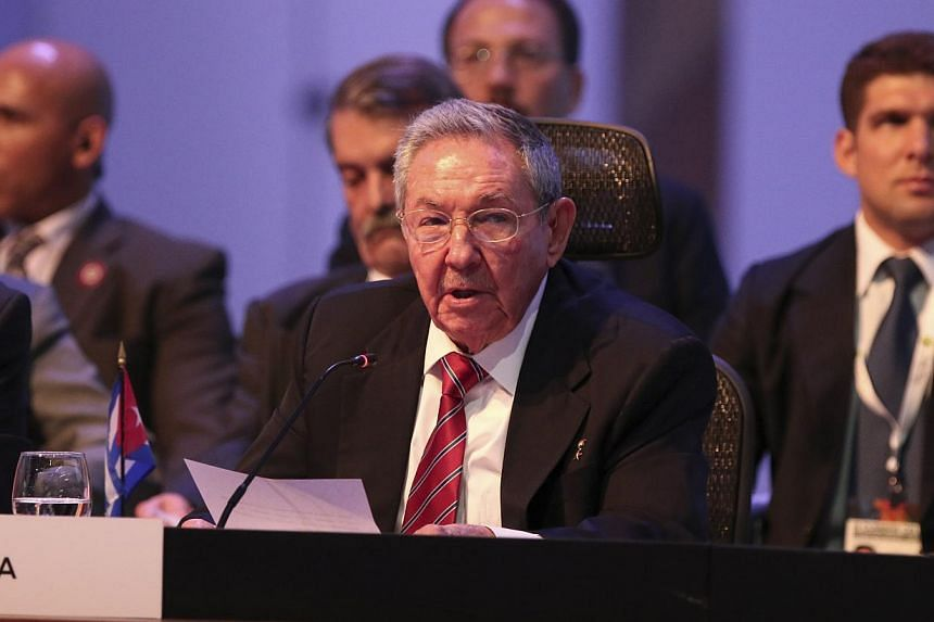 Cuban President Raul Castro (above) demanded on Wednesday an end to the US embargo against his country in order to make progress in talks to normalise relations. -- PHOTO: REUTERS