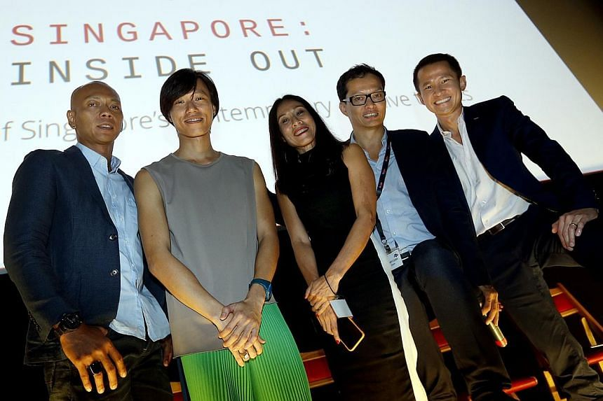 (From left) Sound-Media artist Zulkifle Mahmod, choreographer Lee Mun Wai, playwright Tan Kheng Hua, Singapore: Inside Out Creative Director Randy Chan, and STB Chief Executive Lionel Yeowere present yesterday at the second media launch of the