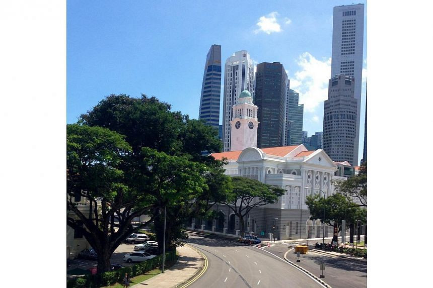 The gallery's location in two of Singapore's most iconic buildings along the Padang offers absolutely stunning views of Singapore on a clear day. -- ST PHOTO: DEEPIKA SHETTY