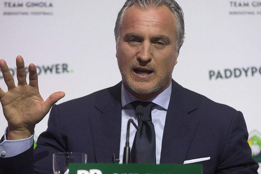 Former footballer David Ginola of France announcing his campaign to stand for the Fifa presidency in London on Jan 16, 2015. -- PHOTO: REUTERS