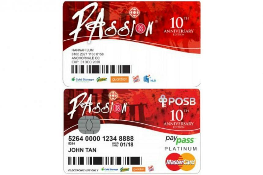 The SG50 commemorative edition PAssion card (top), which can be used as an EZ-link card, and commemorative edition PAssion POSB debit card. -- PHOTO: PEOPLE'S ASSOCIATION