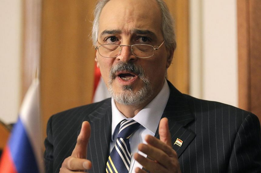 Syria's UN representative and head of the government delegation in Moscow, Bashar al-Jaafari, gives a press conference at Syrian embassy in Moscow, Russia, 29 Jan 2015. -- PHOTO: EPA
