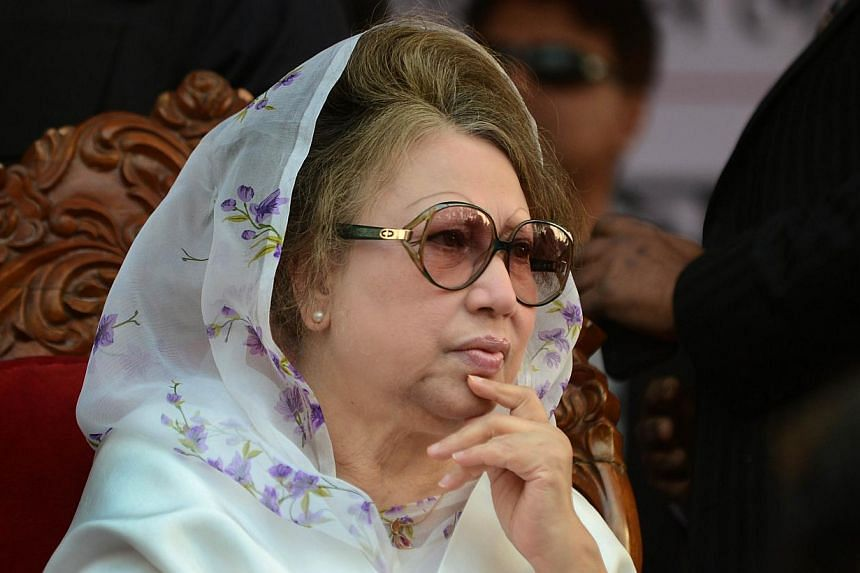 In this photograph taken on Jan 20, 2014, Bangladesh's main opposition leader and Bangladesh Nationalist Party (BNP) chairperson Khaleda Zia attends a rally in Dhaka. Bangladesh authorities on Saturday cut the power to opposition leader Khaleda