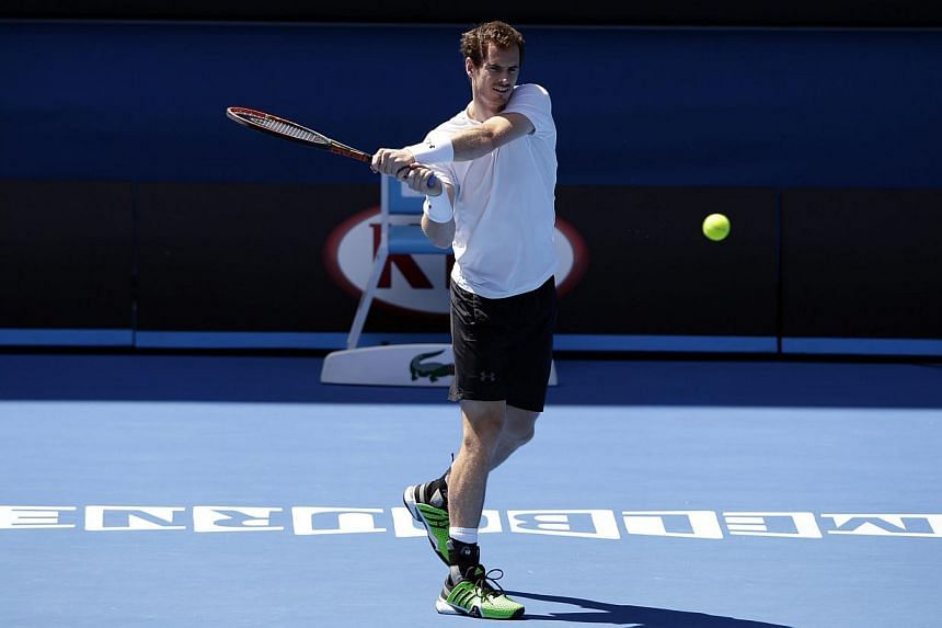 Andy Murray of Britain during a practice session at the Australian Open Grand Slam tennis tournament in Melbourne, Australia, on Jan 31, 2015. -- PHOTO: EPA