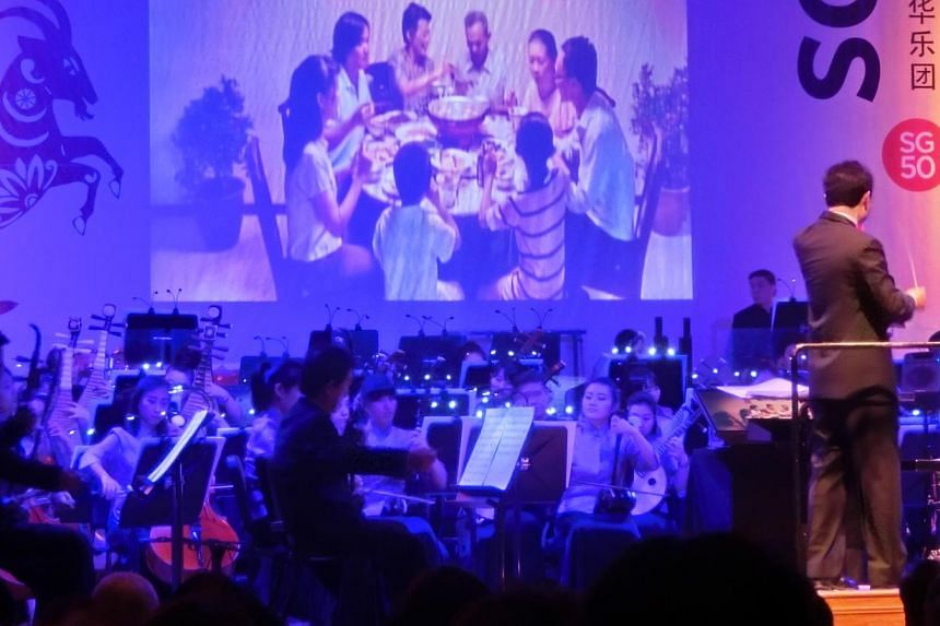 Film director Anthony Chen's 2011 short film Family Reunion screened during the performances. -- ST PHOTO: CHANG TOU LIANG