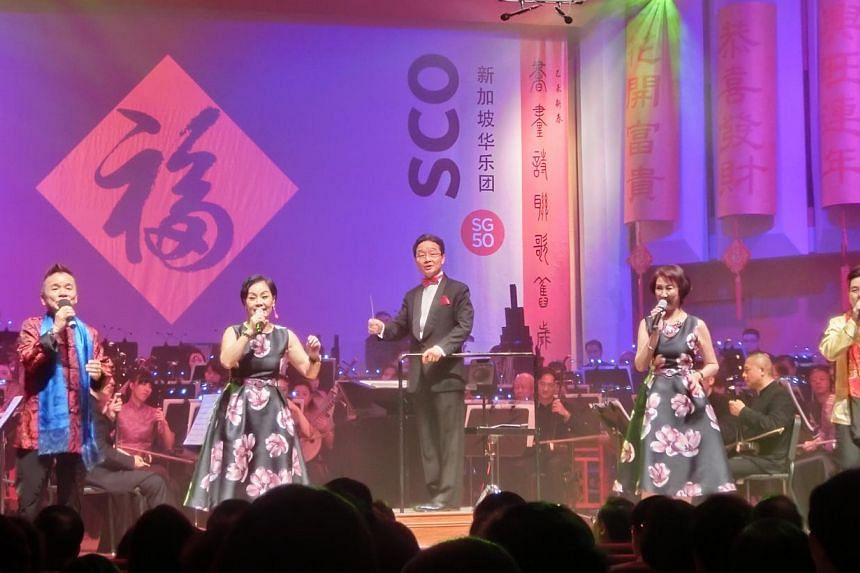 The Singapore Chinese Orchestra's annual Lunar New Year concerts, entitled Rhapsodies Of Spring, have become as much an institution as the Singapore Symphony Orchestra's Christmas Concerts.-- ST PHOTO: CHANG TOU LIANG