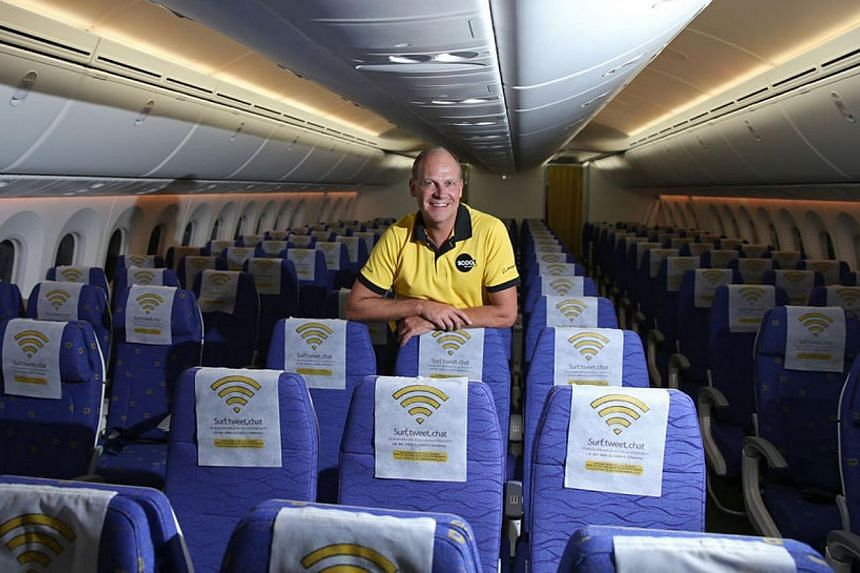 Scoot CEO Wilson Campbell says that the 787's ambiance, improved cabin humidity and larger windows, plus the new seats and amenities, will afford guests an even better experience than they already enjoy on their widebody 777s. -- ST