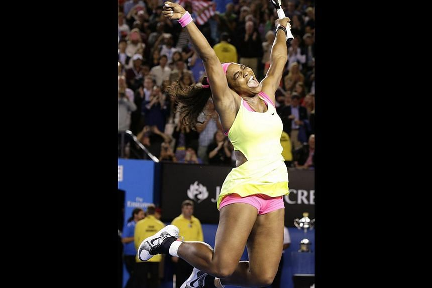 Serena Williams leaps for joy after defeating Maria Sharapova in straight sets yesterday to claim her sixth Australian Open crown. The victory took her tally of Grand Slam titles to 19, one more than Martina Navratilova and Chris Evert.