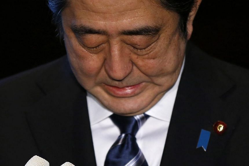 Japan's Prime Minister Shinzo Abe speaks to the media at his official residence in Tokyo Feb 1, 2015. -- PHOTO: REUTERS