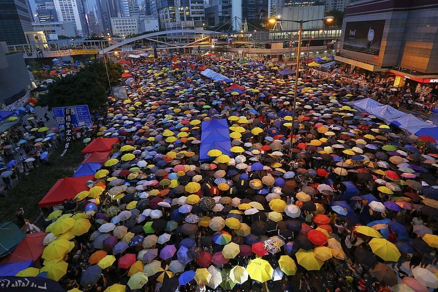 Protesters in Hong Kong's financial central district on Oct 28, 2014. -- PHOTO: REUTERS