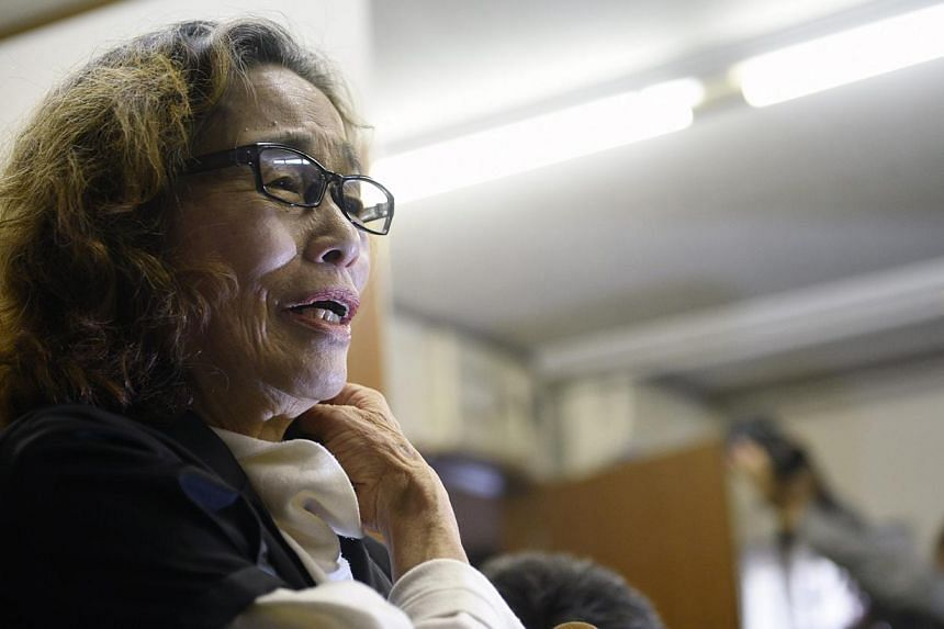 Ms Junko Ishido, the mother of Mr Kenji Goto, a Japanese journalist held by the Islamic State in Iraq and Syria (ISIS), speaking to reporters at her home in Tokyo, Japan, on Feb 1, 2015, after ISIS announced in a video that it had beheaded Mr Goto. -