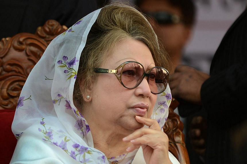 In this photograph taken on Jan 20, 2014, Bangladesh's main opposition leader and Bangladesh Nationalist Party (BNP) chairman Khaleda Zia attending a rally in Dhaka. Bangladesh restored power to the office of opposition leader Khaleda Zia, an officia