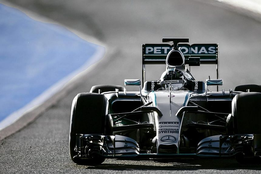 Mercedes'German Formula One driver Nico Rosberg steering his car during a training session at Jerez racetrack in Jerez de la Frontera, Spain, on Feb 1 2015.Mercedes began the 2015 Formula One campaign in dominant fashion, as Nico Rosberg