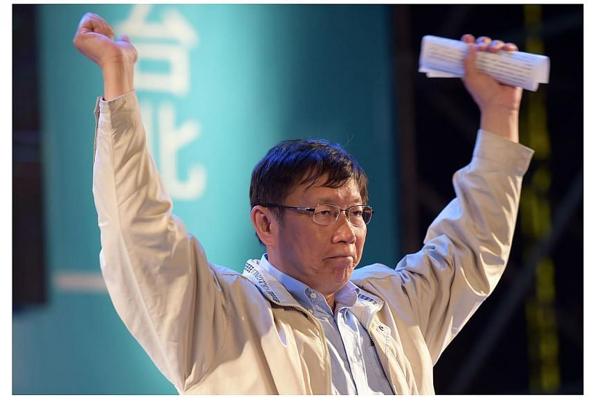 Taipei's maverick mayor Ko Wen-je, one of Taiwan's popular politicians, sparked heavy criticism on Sunday, Feb 1, 2015, after saying China should recognise the island as an independent democracy. -- PHOTO: AFP
