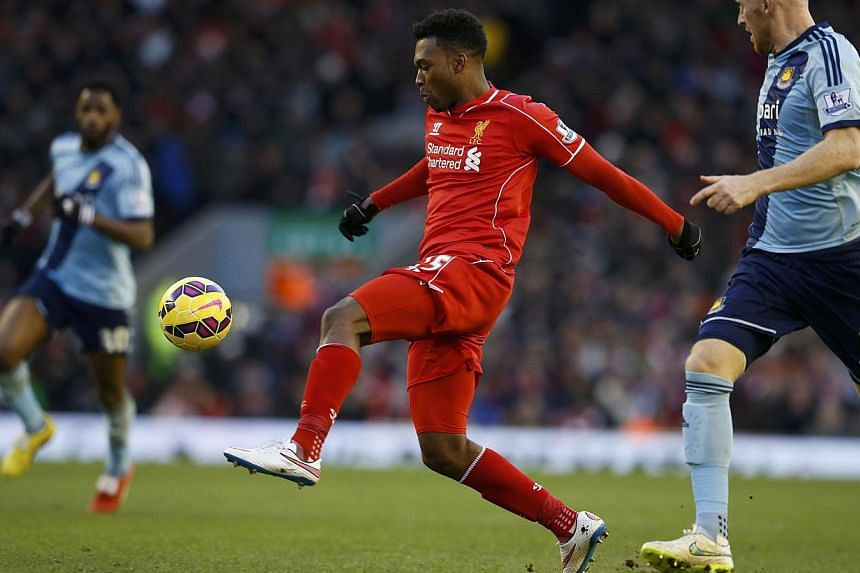Liverpool's Daniel Sturridge controls the ball during their English Premier League soccer match against West Ham United at Anfield in Liverpool, northern England Jan 31, 2015. -- PHOTO: REUTERS