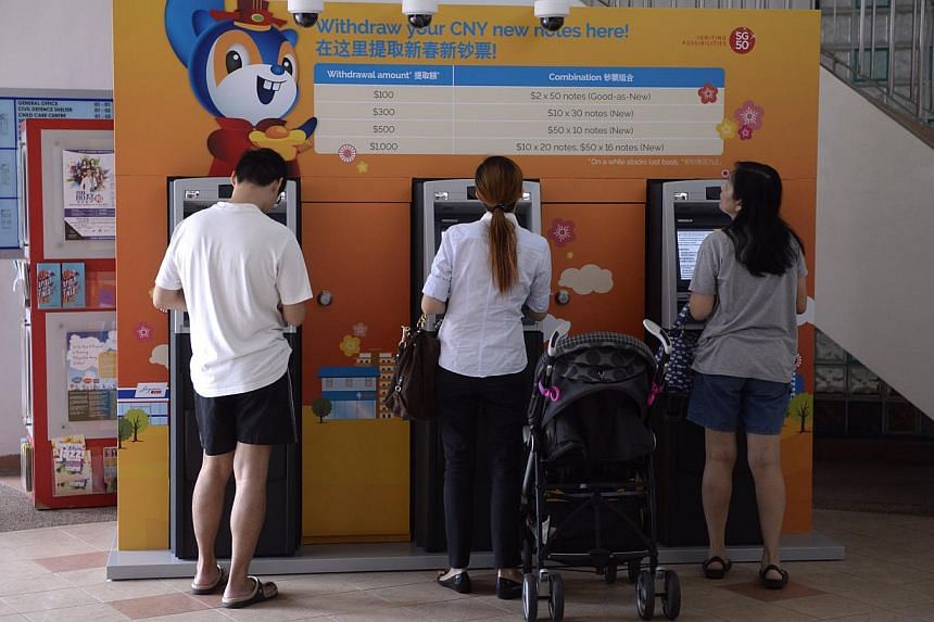 DBS Bank and POSB customers were able to get their hands on new and good-as-new notes from 10 selected community clubs around Singapore from Monday. For the coming festive season, the bank has installed 29 pop-up ATM machines at 10 community clubs. -