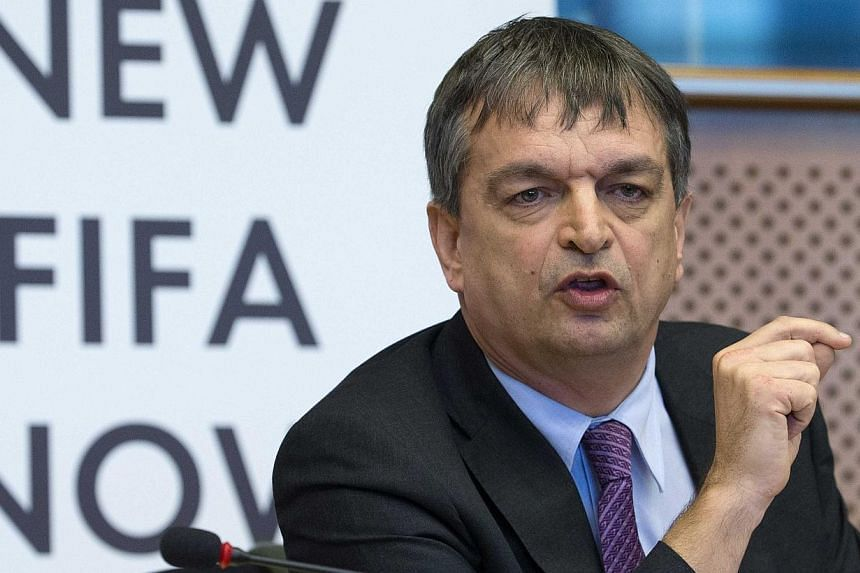 """FIFA presidential candidate Jerome Champagne attends the """"New FIFA Now"""" summit at the European Parliament in Brussels on Jan 21, 2015. He has now pulled out of his bid after not winning sufficient backing. -- PHOTO: REUTERS"""