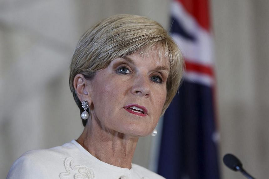 Australian Foreign Affairs Minister Julie Bishop speaks at a joint Australia-United Kingdom Ministerial Consultations press conference in Sydney, Australia, on Feb 2, 2015.Ms Bishop said there is a danger of Islamic State in Iraq and Syria (ISI