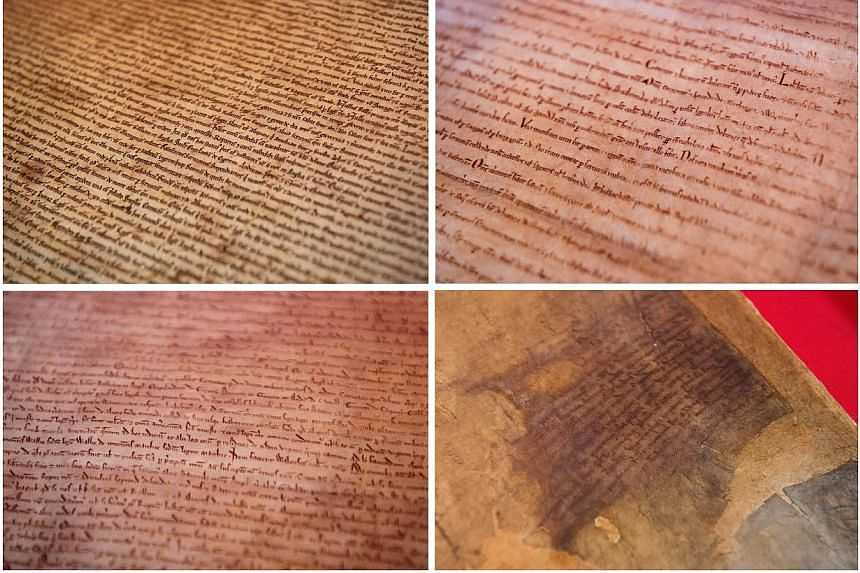 (Top Row from left) The Magna Carta from Salisbury Cathedral, The Magna Carta from Lincoln Cathedral (Botttom Row from left) The British Library's London Magna Carta and the British Library's Canterbury Magna Carta, went on display together on Monday
