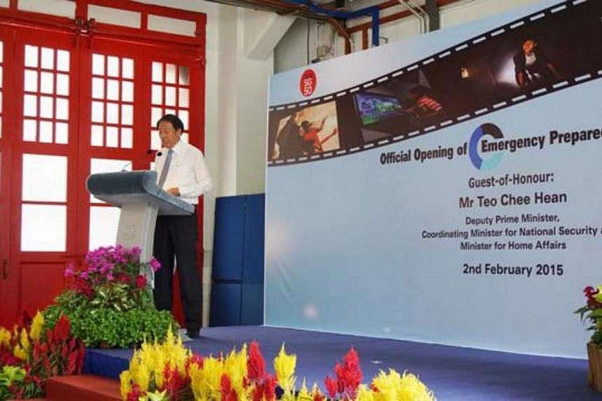 DPM Teo Chee Hean speaking at the opening ceremony of SCDF's Emergency Preparedness Centre on Feb 2, 2015. -- PHOTO: SCDF/TWITTER