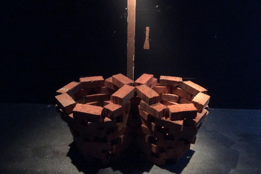 Lai Chee Kien's brickwork installation Double Cauldron before it was damaged at The Mill. It has since been restored. -- PHOTO: KHOO EE HOON