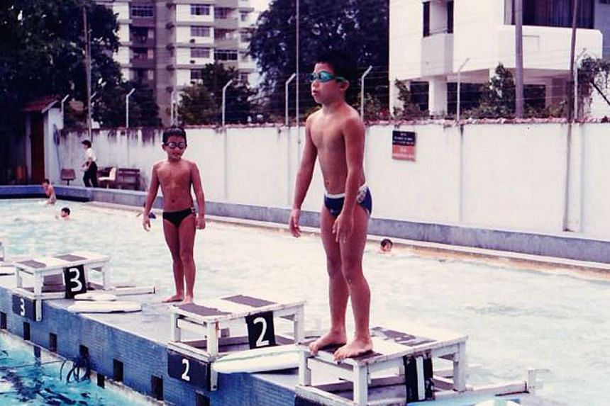 Hanjin Tan playing drums as a child and at swimming training (above).-- PHOTOS: COURTESY OF HANJIN TAN
