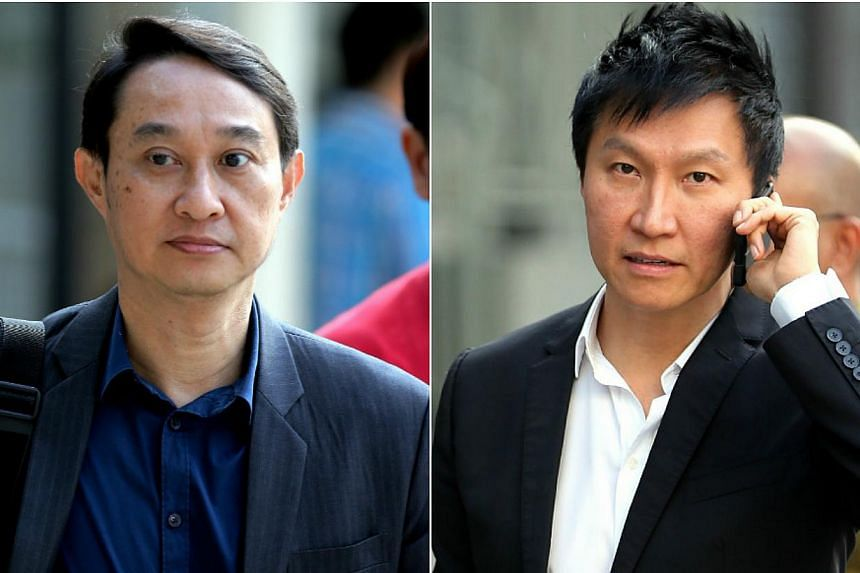 City Harvest Church's former fund manager Chew Eng Han (left) on Monday accused founding pastor Kong Hee (right) of lying to the court over the level of control he had over the Crossover Project. -- ST PHOTOS: WONG KWAI CHOW
