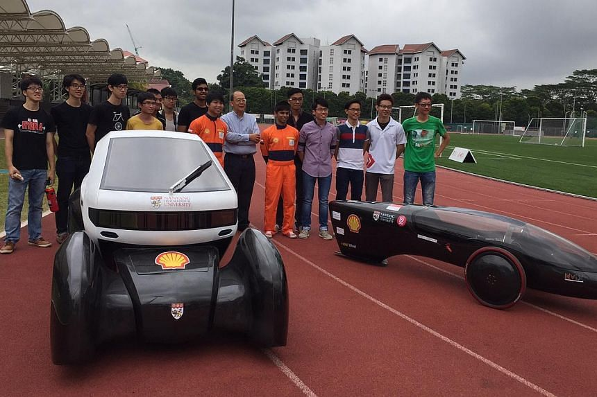 Two solar-powered electric cars, designed by students from the Nanyang Technological University (NTU), were unveiled by the institution on Monday morning. -- ST PHOTO: AUDREY TAN