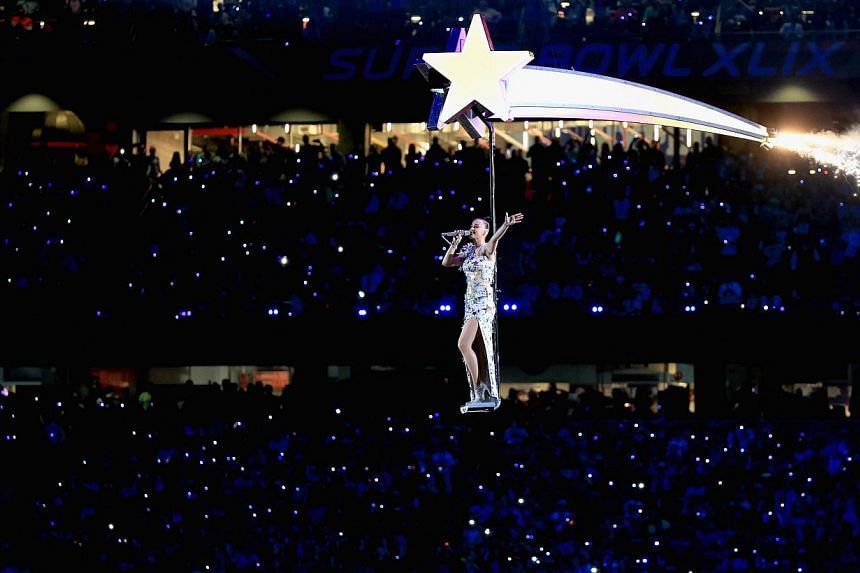 Singer Katy Perry performs onstage during the Pepsi Super Bowl XLIX Halftime Show at University of Phoenix Stadium in Glendale, Arizona on Feb 1, 2015. -- PHOTO: AFP