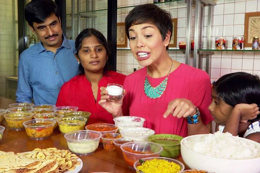 Nikki Muller as host in television food series, The Food Detective. It is one of many Public Service Broadcast (PSB) programmes lauded by the Media Development Authority (MDA) for improvements in production quality. -- PHOTO: MEDIACORP