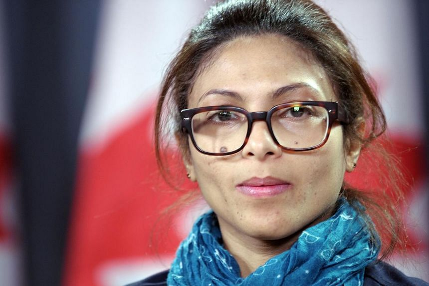 Ensaf Haidar, the wife of the Saudi Blogger Raef Badawi, holds a press conference in Ottawa, Ontario, on Thursday asking Canadian Prime minister Stephen Harper to plead on Saudi Arabia to free her husband. Badawi was flogged in public on Jan 9 near a