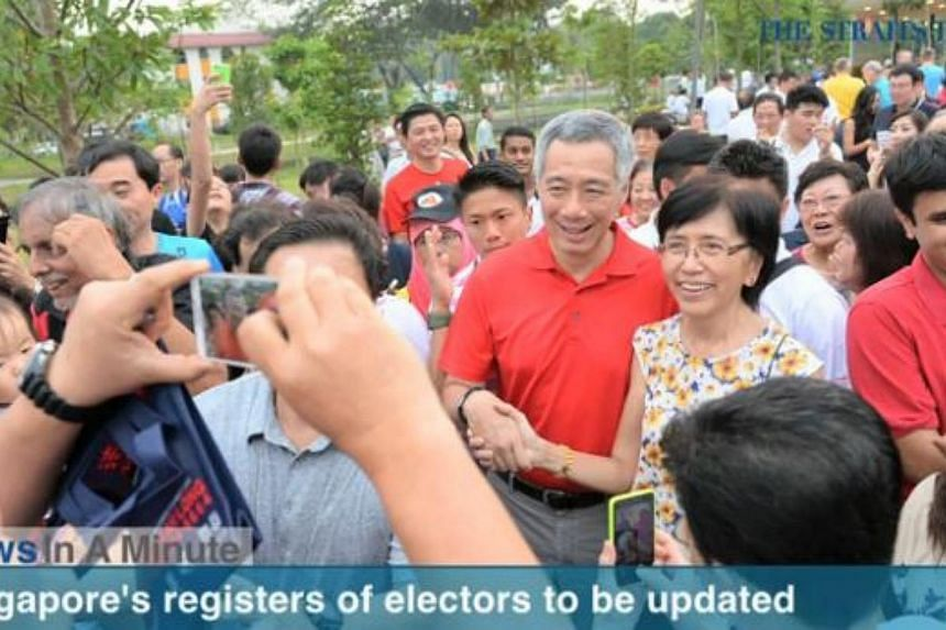 In today's News In A Minute, we look at Prime Minister Lee Hsien Loong calling for the registers of electors to be updated no later than April 30. -- PHOTO: RAZORTV