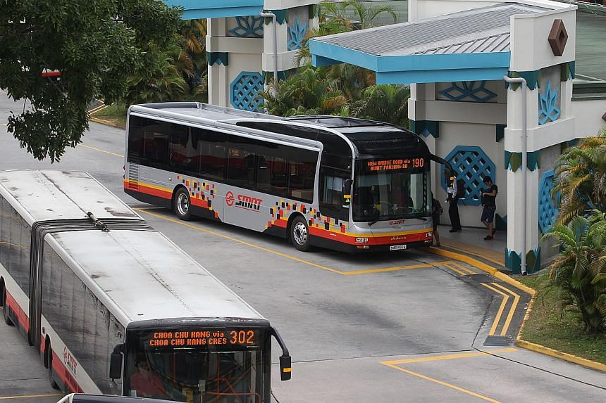 Two new bus routes operated by SMRT will be launched in Choa Chu Kang in February, with another service to be extended to serve upcoming developments. -- ST PHOTO: ONG WEE JIN