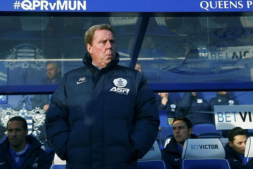 Queens Park Rangers manager Harry Redknapp looks on before their English Premier League football match against Manchester United, at Loftus Road in London on Jan 17, 2015. Redknapp has resigned as the manager of QPR, the club said on Tuesday. -- PHOT