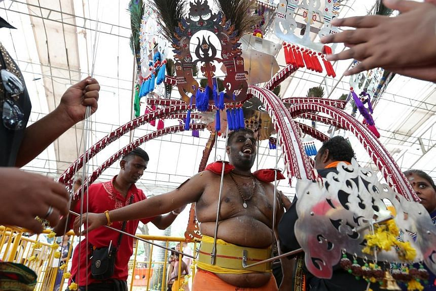 Devotee, with 108 spikes pierced into his body and holding up a wood-and-metal structure two-thirds his weight, ending his walk at Sri Thendayuthapani Temple during Thaipusam. -- ST PHOTO: ONG WEE JIN