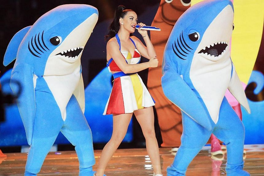 Recording artist Katy Perry performing during the Pepsi Super Bowl XLIX Halftime Show at the University of Phoenix Stadium on Feb 1, 2015 in Glendale, Arizona. -- PHOTO: AFP