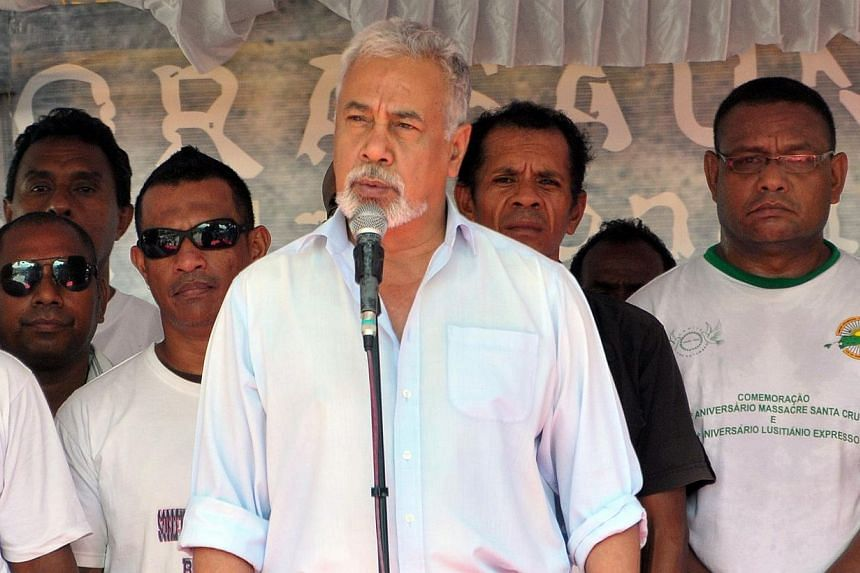East Timor's Prime Minister Xanana Gusmao delivers his address during the anniversary marking the Santa Cruz massacre in Dili on Nov 12, 2014. The former guerrilla leader is meeting the President this week to discuss a possible government restru