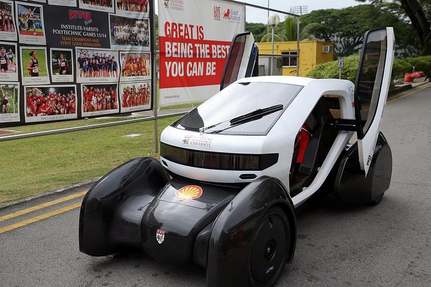 The NTU Venture 8 (above) and NTU Venture 9 (left), two eco-cars designed and built by students from NTU's College of Engineering. The cars will be competing in the latest edition of the Shell Eco- marathon Asia in Manila at month's end.