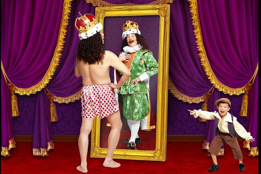 As part of its 15th anniversary, Wild Rice will be staging five productions, including Hotel, a cheeky adaptation of The Emperor's New Clothes (above) and Public Enemy starring Lim Kay Siu and Ivan Heng. -- PHOTO: WILD RICE